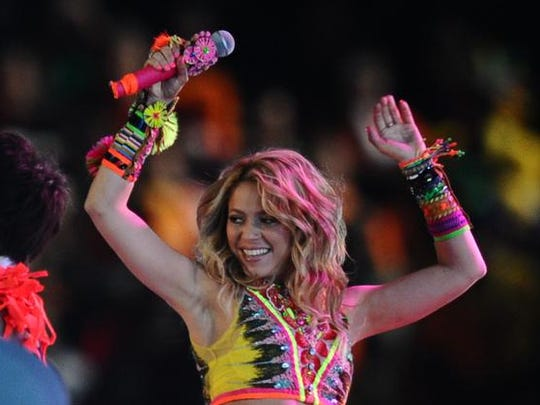 Colombian singer Shakira performs during the closing ceremony prior to the 2010 World Cup football final Netherlands vs. Spain on July 11, 2010 at Soccer City stadium in Soweto, suburban Johannesburg. NO PUSH TO MOBILE / MOBILE USE SOLELY WITHIN EDITORIAL ARTICLE -     AFP PHOTO / JEWEL SAMAD (Photo credit should read JEWEL SAMAD/AFP/Getty Images)