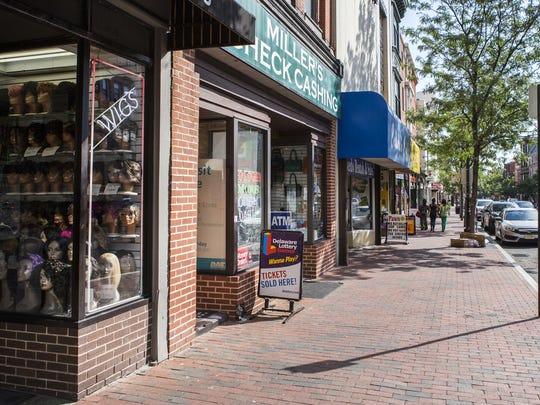 Market Street in Wilmington features few pedestrians