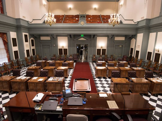 The Senate chamber in Dover's Legislative Hall is empty as long as lawmakers keep session postponed due to coronavirus.