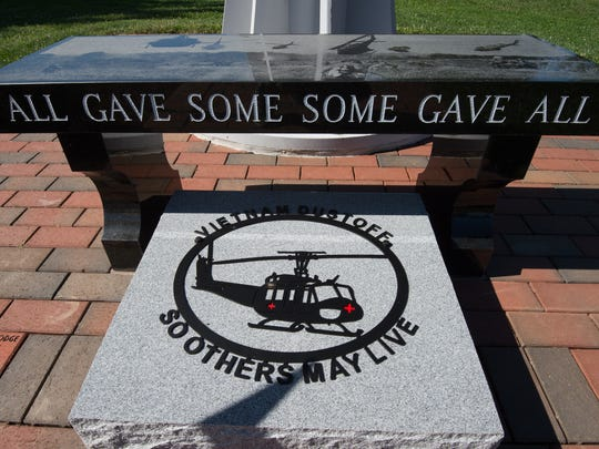 "View of the new Dustoff Memorial Stone that was unveiled at the Dustoff Memorial Service for the UH-1 ""Huey"" helicopter crews who rescued 900,000 veterans from harm's way in Vietnam at the Vietnam Veterans of America Memorial in Dover."