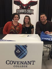 Stewarts Creek soccer standout Emma DiDomenico recently signed to play at Covenant College. Pictured (l-r) are Tiffany Vance, Emma DiDomenico  and Joey DiDomenico.