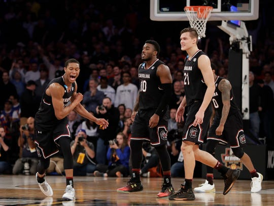 South Carolina guard PJ Dozier (15) reacts in the second half of the East Regional championship game against Florida at the Garden on Sunday.