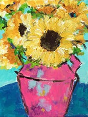 Painting inspired by Kim Hassold's work taught by local artist Suanne Hall on an 8 x 10 canvas.