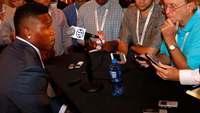 South Carolina's Pharoh Cooper speaks to the media at the Southeastern Conference NCAA college football media days, Tuesday, July 14, 2015, in Hoover, Ala. (AP Photo/Butch Dill)