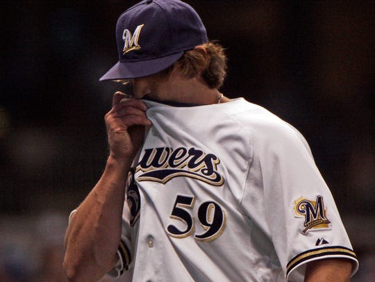Milwaukee Brewers rlief pitcher Derrick Turnbow reacts