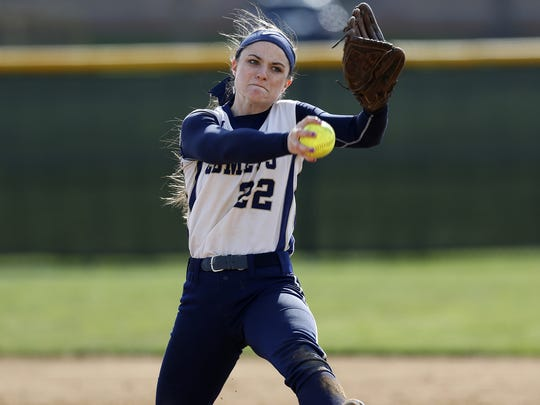 Brittany Hook pitched a touch game at Hempfield High School in Landisville on Friday, April 8, 2016. Hempfield won, 6-2.