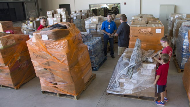 The donation effort to help victims in Mexico came together quickly as supplies were prepped at Swift Aviation in Phoenix, Ariz. on Sept. 23, 2017.
