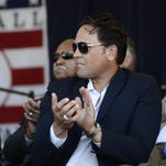 Mike Piazza applauds during an awards ceremony at Doubleday Field on Saturday, July 23, 2016, in Cooperstown, N.Y. Piazza and Ken Griffey Jr. are to be inducted Sunday. (AP Photo/Heather Ainsworth)