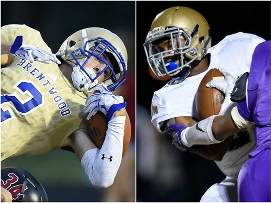 Brentwood wide receiver Parker Bullion (left) and Independence running back Troy Henderson (right).