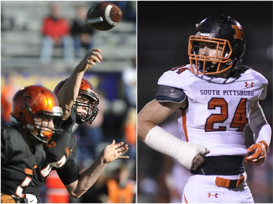 Greenback quarterback Hunter Willis (left) and South Pittsburg defensive end Jay Riley Mayfield (right)