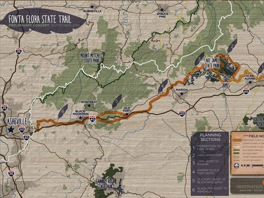 The Fonta Flora preliminary conceptual map shows the plan for a foot and bike path from Morganton to Asheville.