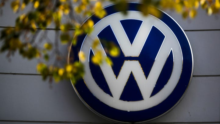 The VW sign of Germany's Volkswagen car company at