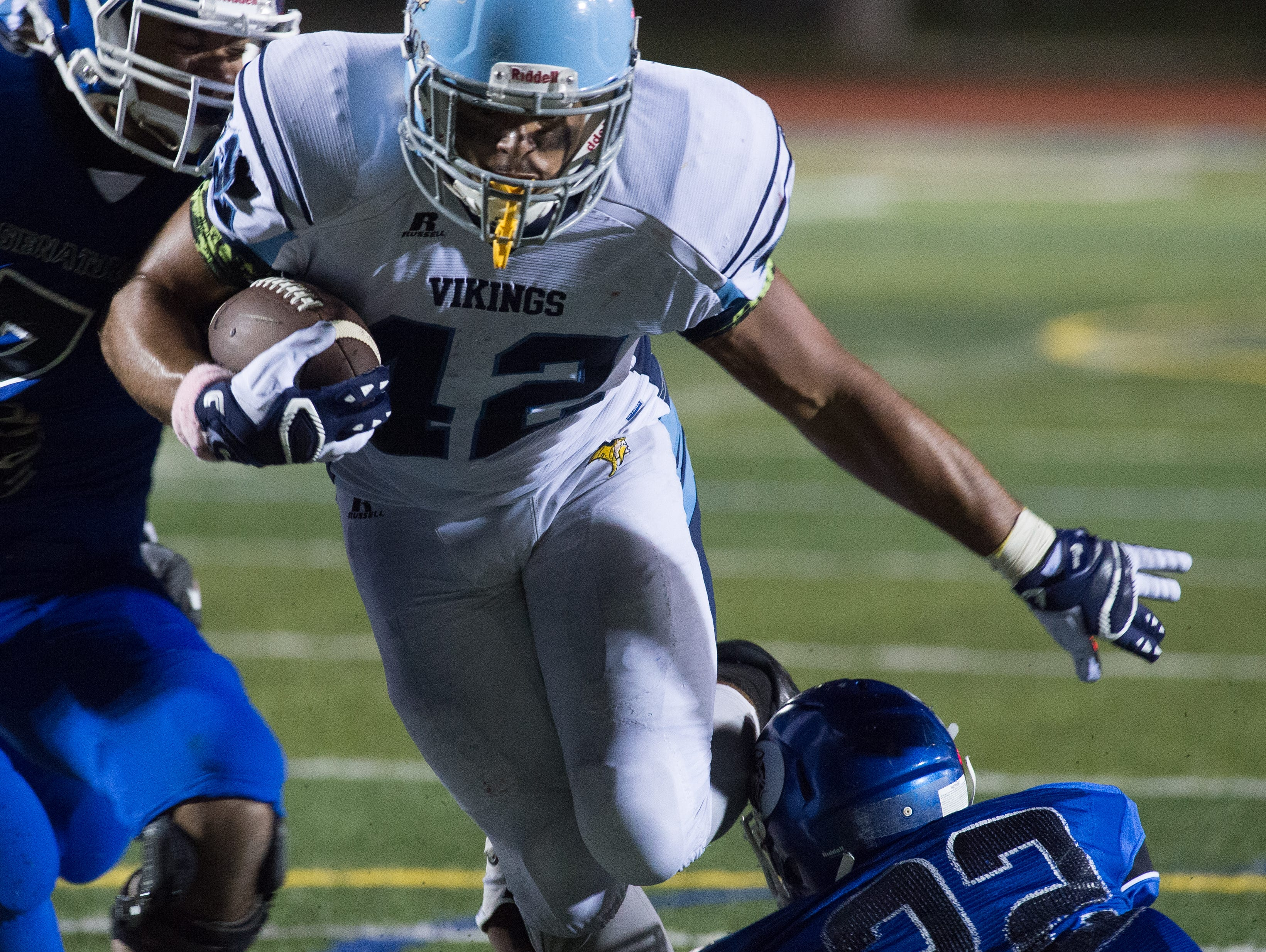 Cape Henlopen's Kolbi Wright (42) runs into the end zone for a touchdown in their 29-14 win over Dover.