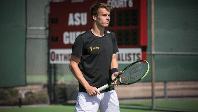 Michael Geerts of Belgium is among several international players helping to re-launch Arizona State men's tennis.