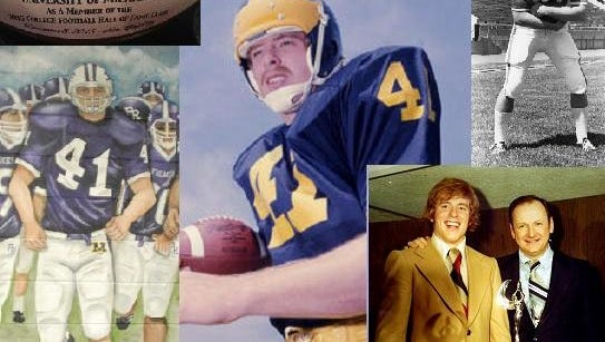 Fremont's Rob Lytle will be inducted into the College Football Hall of Fame Tuesday in New York City. Top left, the football the Lytle family received upon Rob's election to the Hall of Fame in January. Center, Lytle during his playing career at the University of Michigan. Top right, Lytle as a Fremont Ross Little Giant. Bottom right, Lytle and Michigan coach Bo Schembechler celebrating at the Michigan Amateur Athlete Banquet, 1976. Bottom left, the mural inside the Ross football team's locker room depicting great players in the program's history, including Lytle.