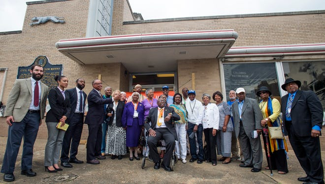 Freedom Riders and other dignitaries pose for a photo during the 55th Anniversary Commemoration of the Freedom Rides at the Freedom Rides Museum in Montgomery, Ala., on Friday May 20, 2016.