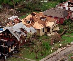 2 tornadoes slammed into Nashville on April 16, 1998
