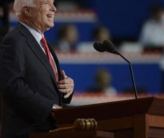 Arizona Sen. John McCain speaks at the Republican National Convention on Wednesday.