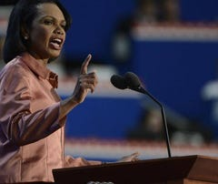 Condoleezza Rice, former secretary of State, speaks Wednesday at the Republican National Convention in Tampa.