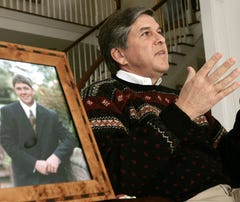 Former senator Gordon Smith, R-Ore., speaks about  his son, Garrett, at Smith's Pendleton, Ore., home in this 2006 photo.  It's unusual for U.S. senators to shed a tear in public, but Smith did so in July 2004, when he spoke in the Senate about Garrett's 2003 suicide.