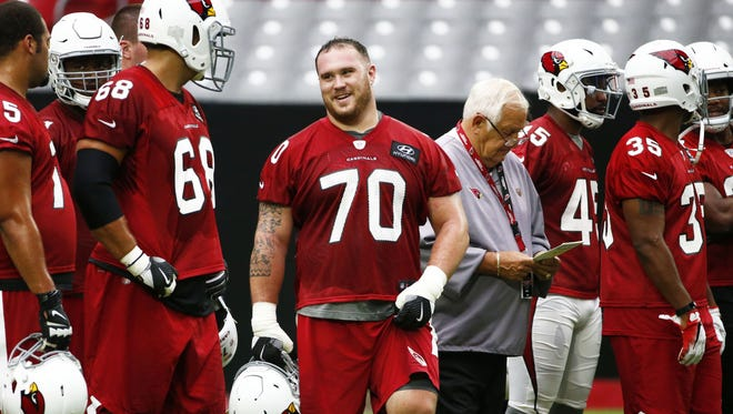 Arizona Cardinals' Evan Boehm during the opening day of training camp on Jul. 22, 2017 in Glendale, AZ.