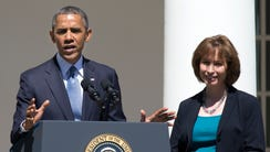 President Obama speaks at the Rose Garden with Patricia
