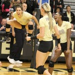 Purdue freshman Brooke Peters thinks she jumped higher celebrating her first career block than she did on the actual play.