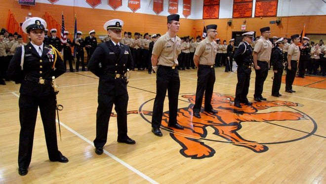 Eight Linden NJROTC cadets who have committed to serve in the U.S. Armed Forces were honored at a ceremony following annual inspection. From left to right are Janali Casanas, Luis Sanchez, Brandon Vetter, Bryan Galvis, Dylan Simoes, Ulysses Garcia, Allyson Valdivia and Jaden Gonzalez.