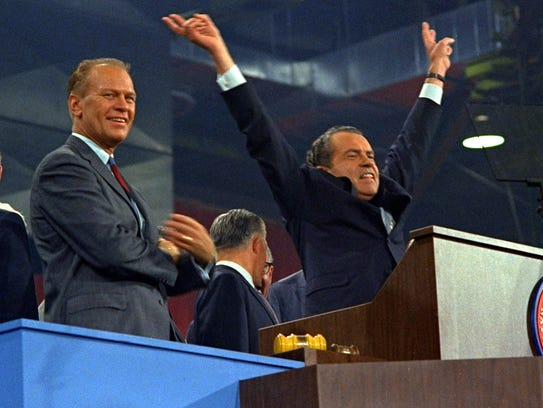 Gerald Ford and Richard Nixon at the party's nomination