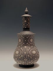 Minaret Bottle pottery creation by artist Forrest Lesch-Middelton, of Petaluma, California.