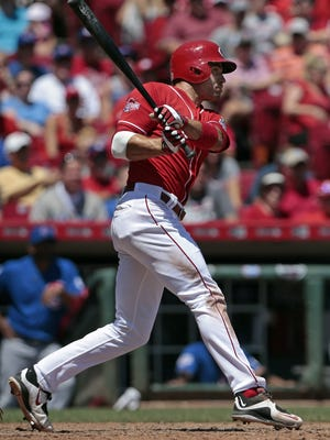 Reds first baseman Joey Votto singles to right-center field in the bottom of the seventh inning Wednesday afternoon.