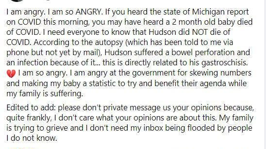 This is a screengrab of a Facebook post Hudson King's mother, Brooke Grandquist, posted after state health officials announced the death of a 2-month-old to COVID-19.