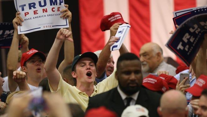A Donald Trump rally in Fairfield, Conn.