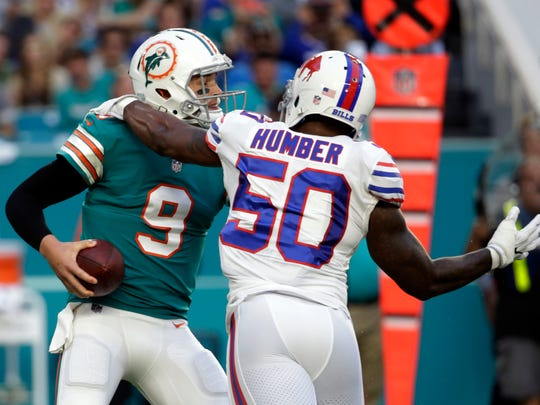 The Miami Dolphins re-signing quarterback David Fales (9) means he is currently slated to back up the returning Ryan Tannehill this season. Fales went 29 of 42 for 265 yards with two touchdowns and an interception in Miami's final game against the Bills last season.