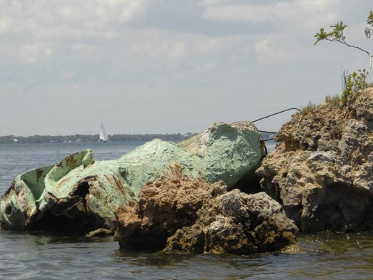 At the southern tip of Merritt Island lies the broken remains of Annie the Dragon.