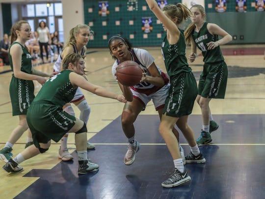 La Quinta Blackhawk Jaelah Butler goes for the basket