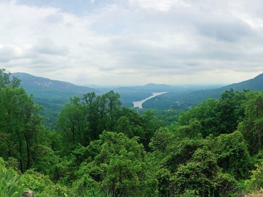 Chimney Rock gives a good view of the nearby mountains and countryside.