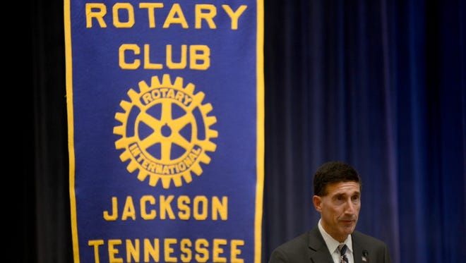U.S. Representative-elect David Kustoff, District 8, spoke at the Jackson Rotary Club's meeting Wednesday afternoon at First United Methodist Church.
