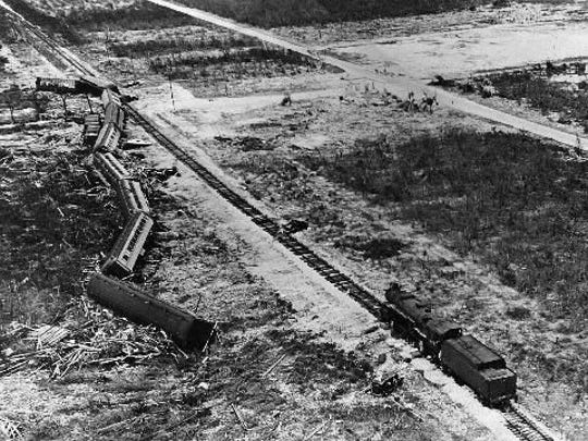 A train sent to rescue 300 World War I veterans was knocked off the track by the Labor Day Hurricane of 1935 before it could reach its destination.