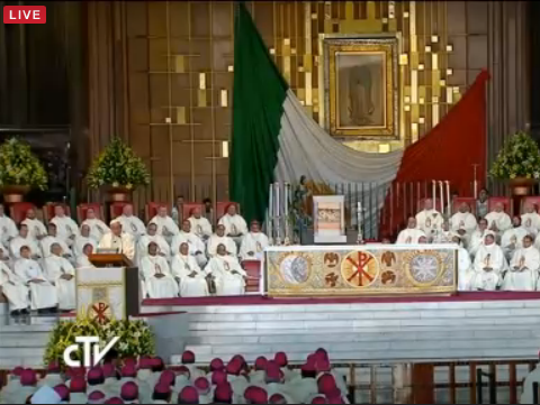 Pope Francis delivers his homily at the Mass at the Basilica of Our Lady of Guadalupe in Mexico City.