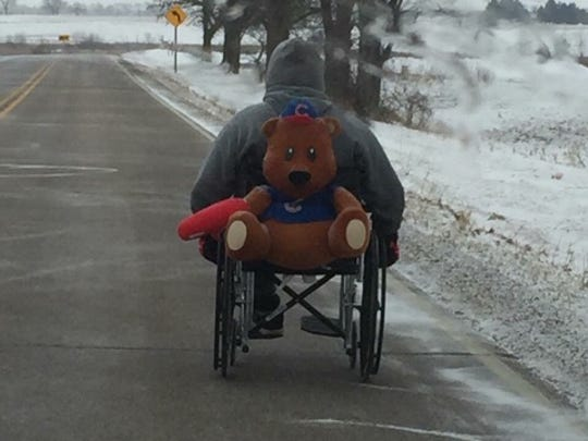 Dennis Schulze of Beloit during his wheelchair trek