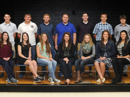 The 2014 Adena Homecoming Court are attendants and their escorts, from left: seniors Jenna Hutton and Hunter Miller, Jessica Hutton and Ethan Hurtt, Queen Hannah Bakenhaster and Graydon Tackett, Morgan Newberry and Gaven Harper; juniors Kaitlyn Davis and Jordan Bruns; sophomores Alexis Putnam and Bret Lane; and freshmen Rylee Putnam and Blake Miller.