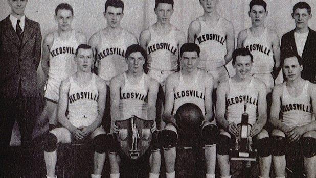 Reedsville's 1946 boys basketball state championship team. Pictured first row, from left: Henry Behnke, Bernard Kubale, Ed Shimon, Roman Kugle and Karl Maertz; second row, from left: Coach John Gable, Reuben Rusch, Carlos Prochnow, James Ottlein, Harvey Waack, Leroy Eichhorst and Lyle Eichhorst.