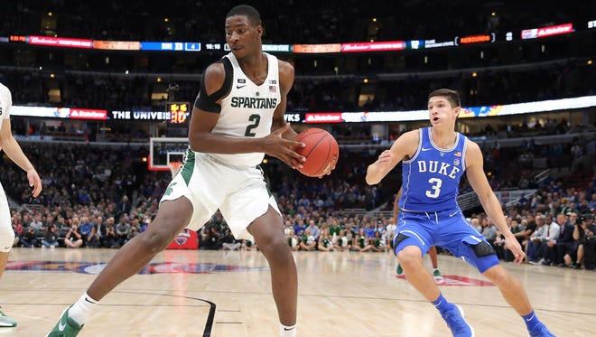Michigan State freshman Jaren Jackson Jr. rescued the Spartans in the first half against Duke Tuesday night, spurring a run that put the Spartans back in front.