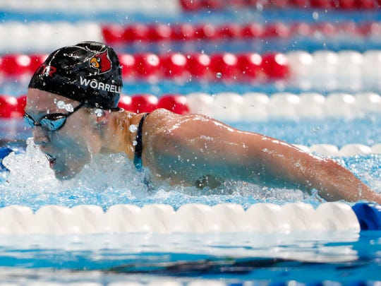 Kelsi Worrell competes in during the women's 200 meter butterfly in the U.S. Olympic swimming team trials.