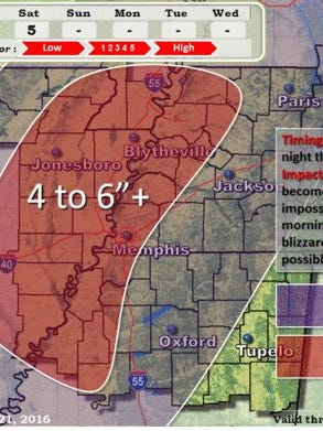 Snow is predicted for the West Tennessee area through the weekend.