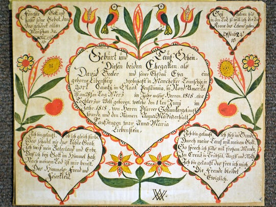 This fraktur reads in part: Anna Maria Beeler daughter of David Beeler & wife Eva Libenstein born 28th on March 1818 baptized 1st of June 1818 by Pastor Schmuker of Manchester Twp., York Co., Pa.  Sponsor: Anna Maria Liebenstein.