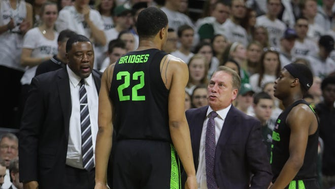 Michigan State coach Tom Izzo has words with Miles Bridges during the second half of MSU's 85-57 win over Indiana on Friday at Breslin Center.