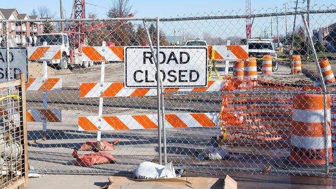 Road closed sign.