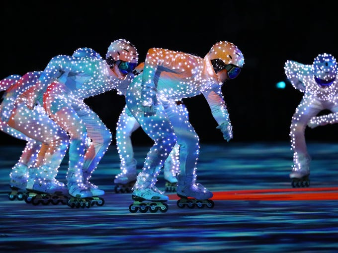 Performers during the closing ceremony for the Pyeongchang